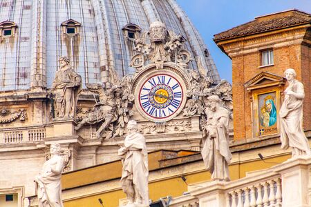 Detail of St. Peter's Basilica and Bernini's colonnade, Rome, Italy