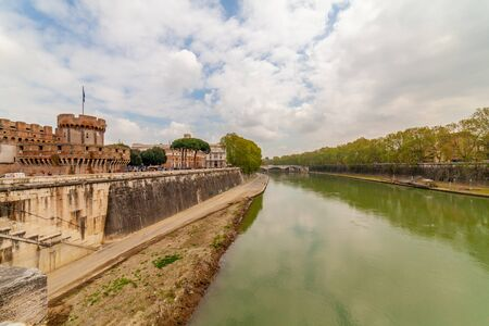 View of the Tiber river from Ponte Sant'Angelo, Rome, Italy Banco de Imagens