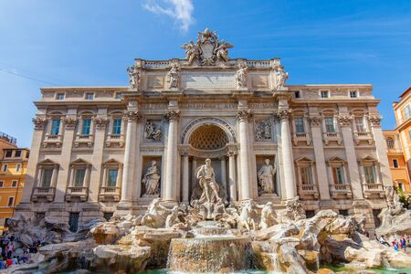 The famous and wonderful Trevi Fountain, Rome, Italy Banco de Imagens