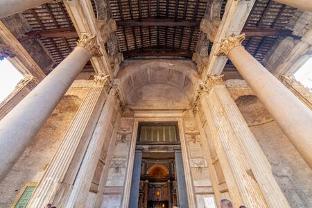 Entrance of the Pantheon, Rome, Italy Banco de Imagens
