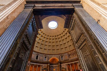 Entrance of the Pantheon with the famous hole on the dome, Rome, Italy