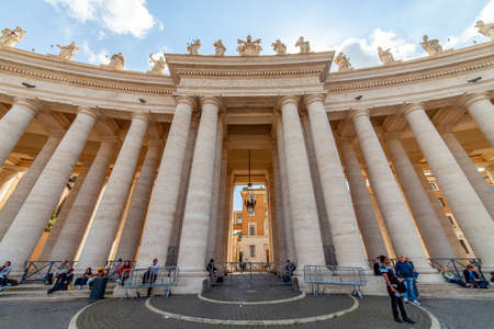 04/09/2014 - Rome, Italy: Bernini's colonnade in St. Peter's Square with tourists