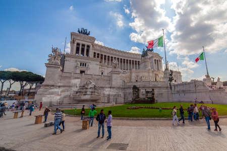 04/09/2014 - Rome, Italy: The Altare della Patria or Vittoriano with tourists