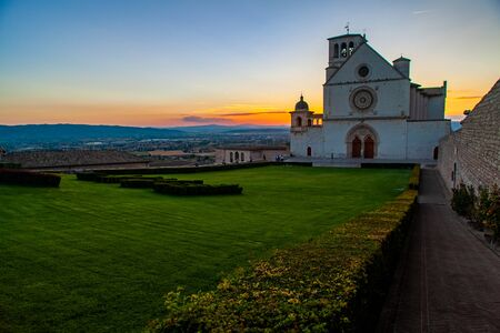 Scenic view of Saint Francis Basilica at sunset, Assisi, Italy