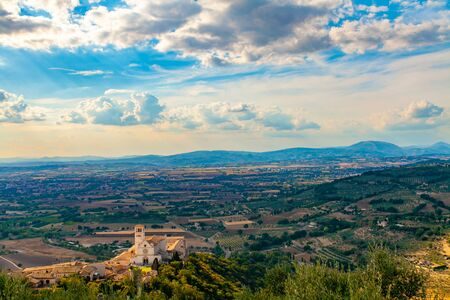 Panorama of the Spoleto plain and the Basilica of San Francesco from the Rocca Maggiore in Assisi, Umbria, Italy