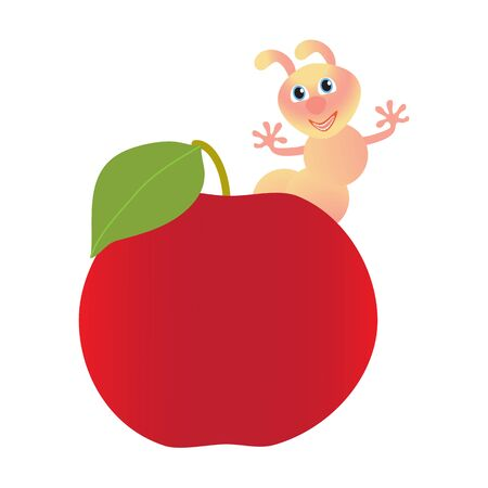 Red apple and worm isolated on white background. Vector illustration. Illustration