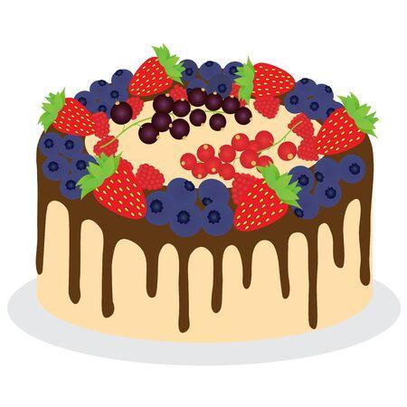 Fruit cake with blackberry, blackberry, raspberry, black on white plate. Vector illustration.