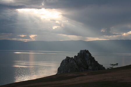 The Cape Burhan on Olkhon Island, Baikal Lake, Russia.  photo