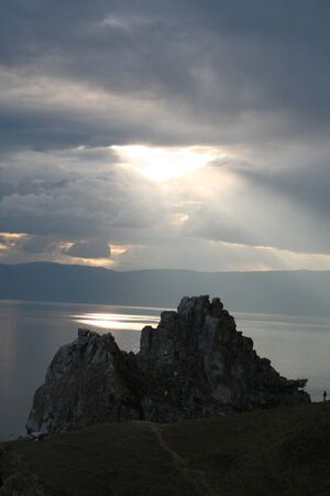 The Cape Burhan on Olkhon Island at Baikal Lake, Russia.  photo