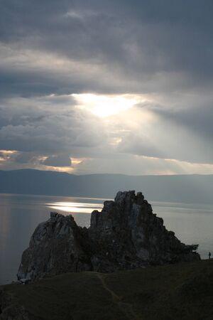 The Cape Burhan on Olkhon Island at Baikal Lake, Russia.  photo