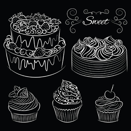 Collection Hand drawn of various beautiful Cakes and Cupcakes