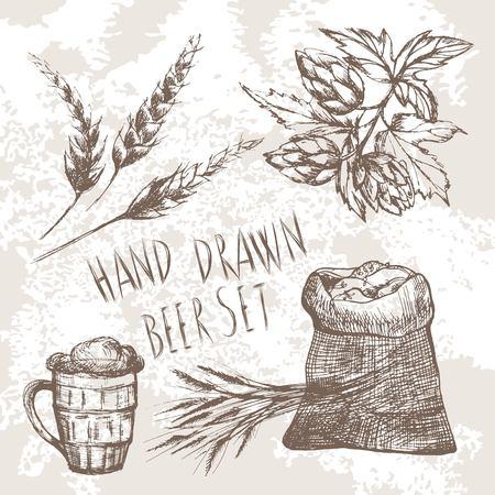 Hand gezeichnet Bier-Set.