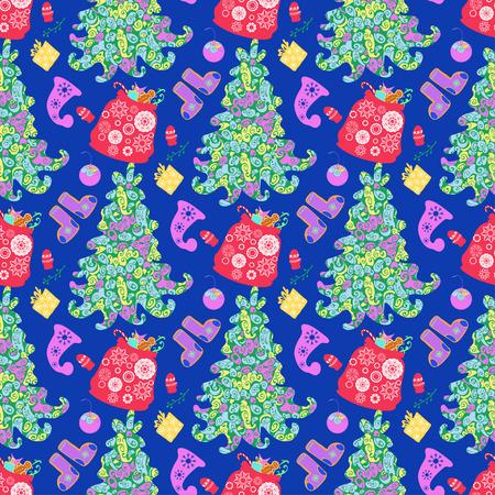 paraphernalia: Seamless pattern with Christmas paraphernalia Illustration