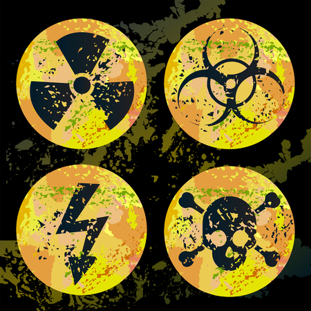 Set of four bright warnings signs for radiation, biohazard, high voltage and poison. Illustration