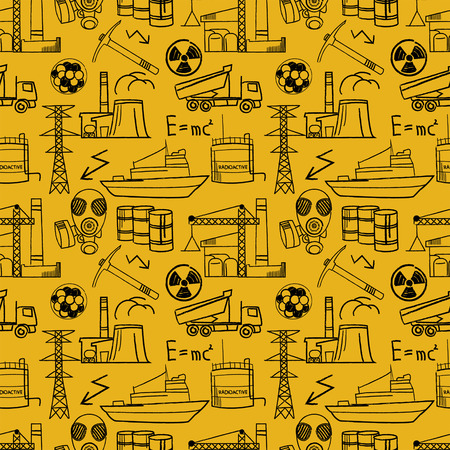 uranium: Industrial sketch seamless pattern.