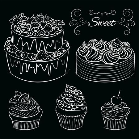 Collection Hand drawn of various beautiful Cakes and Cupcakes. Illustration