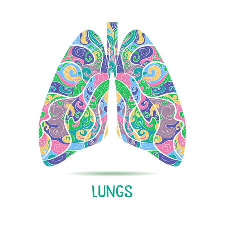 Colored Hand drawn sketched lungs.