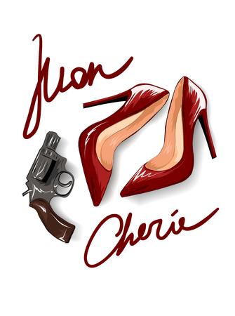 Mon cherie slogan with red heels and pistons illustration.