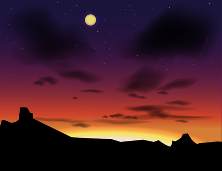 Vector landscape with evening skies. Sunset as a background. Hand drawn paysage nightfall. Illusztráció