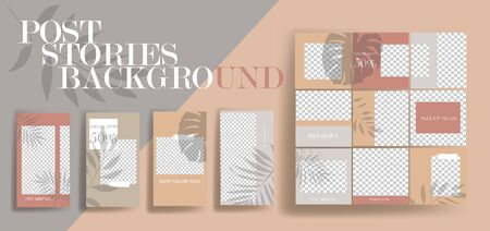 Design backgrounds for social media banner. Set of stories and post frame templates. Vector cover. Mock up for personal blog or shop. Layout for promotion. Endless square puzzle layout