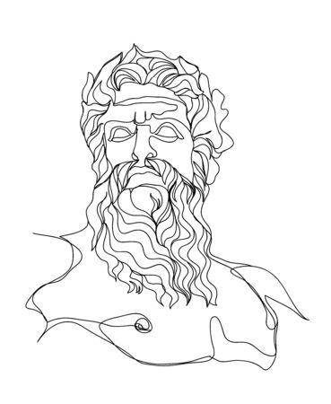 Un croquis de dessin au trait. Sculpture de Zeus. Art moderne à une seule ligne, contour esthétique. Parfait pour la décoration intérieure comme les affiches, l'art mural, le sac fourre-tout, l'impression de t-shirt, l'autocollant