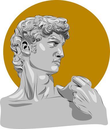 Abbildung der Skulptur. David Michelangelo.Perfekt für Wohnkultur wie Poster, Wandkunst, Einkaufstasche, T-Shirt-Druck, Aufkleber, Postkarte.