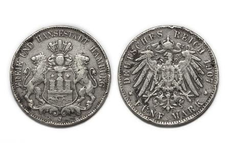 deutschemarks: old German silver coin 5 Mark 1907 isolated