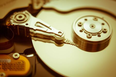 harddrive: The internal hard disk read head and the cylinder Stock Photo
