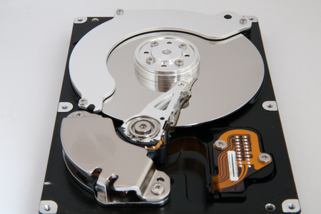 The internal hard disk read head and the cylinder photo