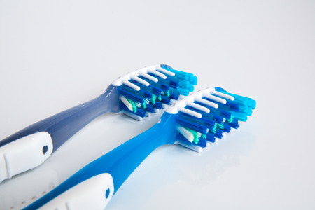 beautiful and a new toothbrush in the studio on a white background