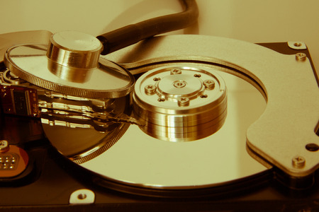 harddrive: closeup view of hdd cylinder and fanendoskop Stock Photo