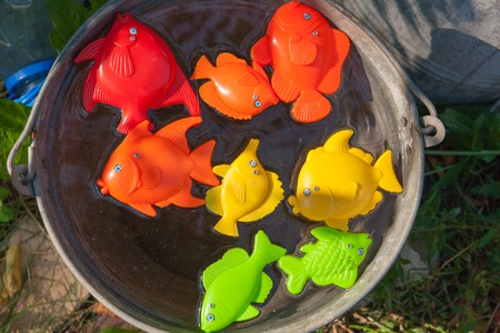 green crab: fish, crabs and other childrens toys in the water Stock Photo