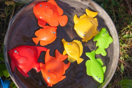 goldenfish: fish, crabs and other childrens toys in the water Stock Photo