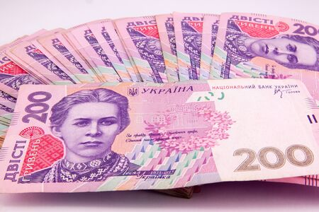 european money: european money, ukrainian hryvnia close up .