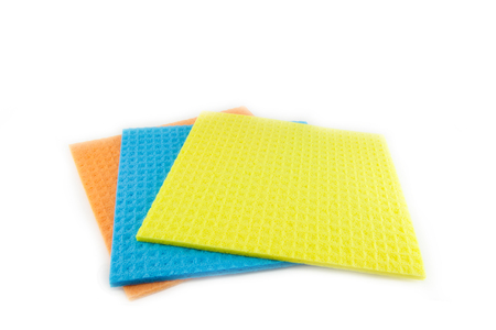 scour: Sponge scouring pads on an isolated white background with a clipping path