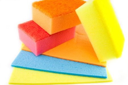 scouring: Sponge scouring pads on an isolated white background