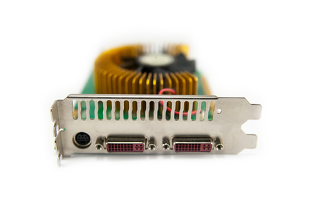 dvi: Computer graphics card with closeup electronic components