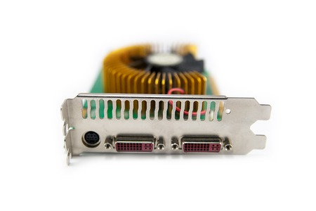 pci card: Computer graphics card with closeup electronic components
