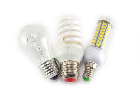 checkboxes: Led, neon and tungsten bulbs with check-boxes. Top image. Stock Photo