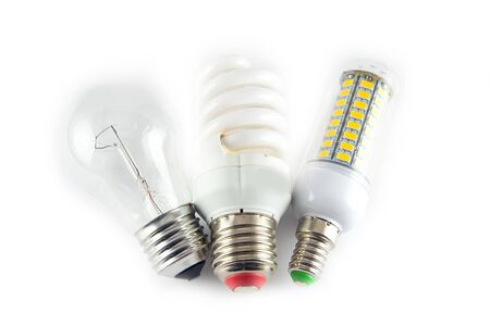 tungsten: Led, neon and tungsten bulbs with check-boxes. Top image. Stock Photo