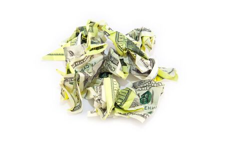 shrunken: Crumpled dollar bill on a white background. Top image. Stock Photo