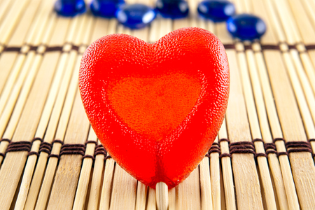 lolly pop: Valentine day concept - heart shaped lolly pop on wood background, copy space. Top image.