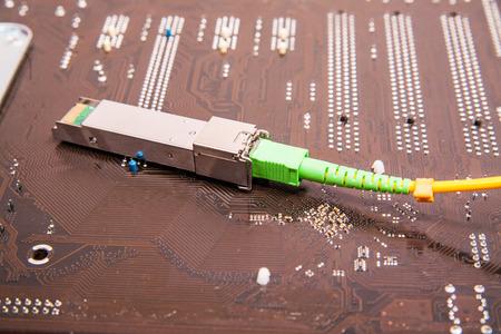 Optical gigabit SFP module for network switch Banco de Imagens