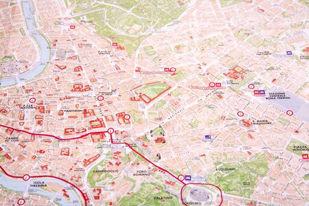 the marked spots on the map of Rome