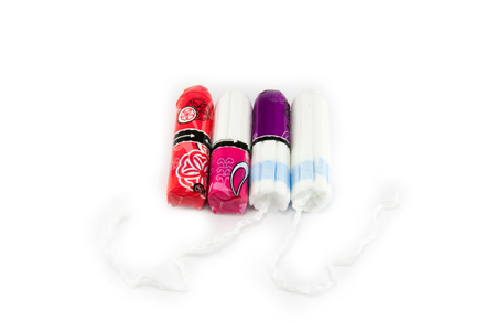 Woman hygiene protection, close-up. cotton tampons. isolated.