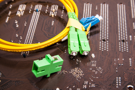 fiber optic patch cord Stock Photo