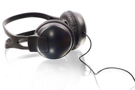 black headphones isolated on white background photo