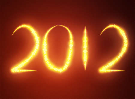 Date New Year 2012 on dark red background Stock Photo - 12415927