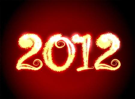 strikingly: Date New Year 2012 on dark red background Stock Photo