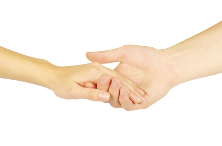 Shaking hands of two people, man and woman, isolated on white. Stock Photo - 12415655
